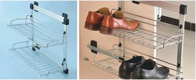 İki raflı raylı aluminyum ayakkabılık